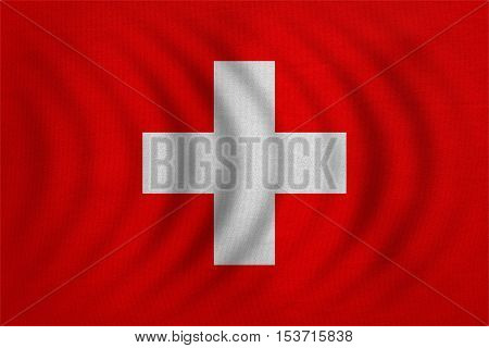 Swiss national official flag. Patriotic symbol banner element background. Correct colors. Flag of Switzerland wavy with real detailed fabric texture accurate size illustration