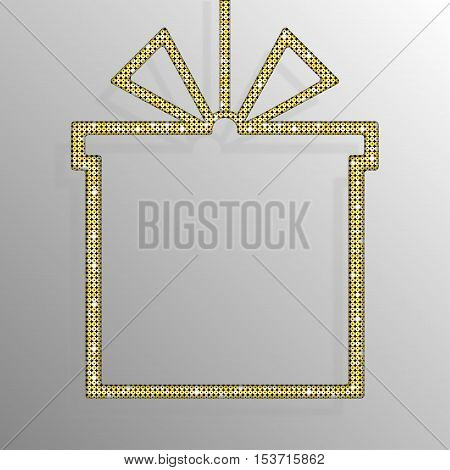 Frame made of Gold sequins in the form gift box. Mosaic sequins glitter sparkle stars.