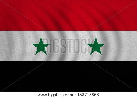 Syrian national official flag. Patriotic symbol banner element background. Correct colors. Flag of Syria wavy with real detailed fabric texture accurate size illustration