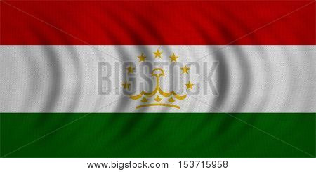 Tajikistani national official flag. Patriotic symbol banner element background. Correct colors. Flag of Tajikistan wavy with real detailed fabric texture accurate size illustration