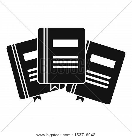 Three books with bookmarks icon. Simple illustration of three books with bookmarks vector icon for web