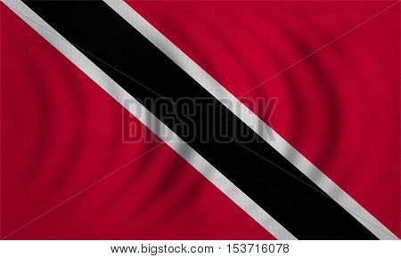 Trinidadian and Tobagonian national official flag. Patriotic symbol banner element background. Correct colors. Flag of Trinidad and Tobago wavy detailed fabric texture accurate size illustration