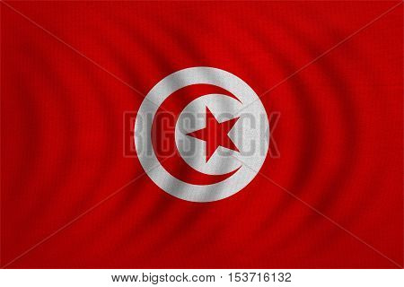 Tunisian national official flag. African patriotic symbol banner element background. Correct colors. Flag of Tunisia wavy with real detailed fabric texture accurate size illustration
