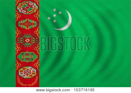 Turkmen national official flag. Patriotic symbol banner element background. Correct colors. Flag of Turkmenistan wavy with real detailed fabric texture accurate size illustration