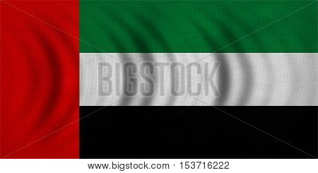 UAE national official flag. Patriotic symbol banner element background. Correct colors. Flag of the United Arab Emirates wavy with real detailed fabric texture accurate size illustration