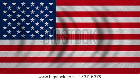 American national official flag. Symbol of the United States. Patriotic US banner element. design background. Flag of USA wavy with real detailed fabric texture. Accurate size color illustration
