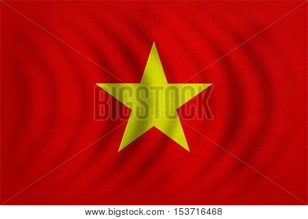 Vietnamese national official flag. Patriotic symbol banner element background. Correct colors. Flag of Vietnam wavy with real detailed fabric texture accurate size illustration