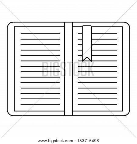 Open tutorial with bookmark icon. Outline illustration of open tutorial with bookmark vector icon for web