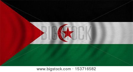 Sahrawi national official flag. Western Sahara patriotic symbol. SADR banner element background. Correct colors. Flag of Sahrawi Arab Democratic Republic wavy fabric texture accurate size illustration