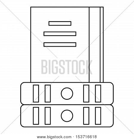 Three books icon. Outline illustration of three books vector icon for web