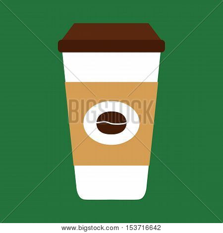 Flat icon coffee cup isolated on green background. Vector illustration.