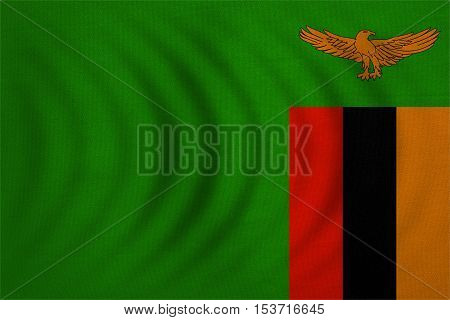 Zambian national official flag. African patriotic symbol banner element background. Correct colors. Flag of Zambia wavy with real detailed fabric texture accurate size illustration