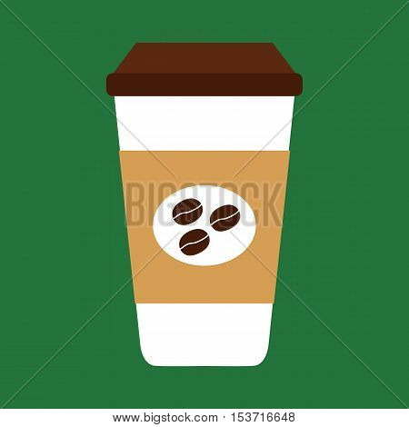 Flat icon coffee cup with coffee beans. Vector illustration.