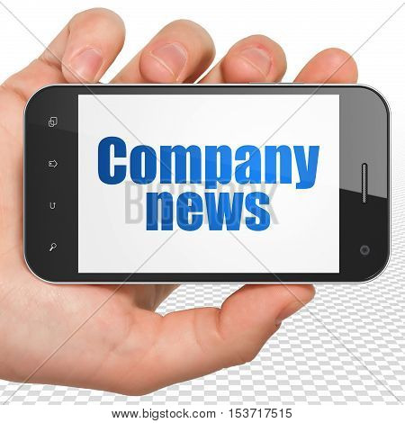News concept: Hand Holding Smartphone with blue text Company News on display, 3D rendering