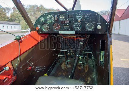 Bremgarten, Germany - October 22, 2016: Cockpit view of a classic Piper Cub aircraft
