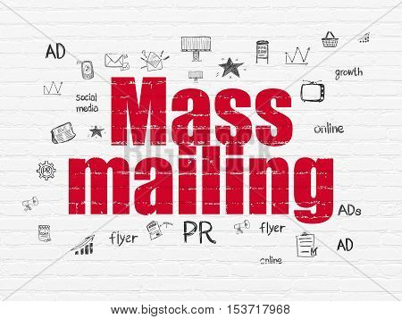 Advertising concept: Painted red text Mass Mailing on White Brick wall background with  Hand Drawn Marketing Icons