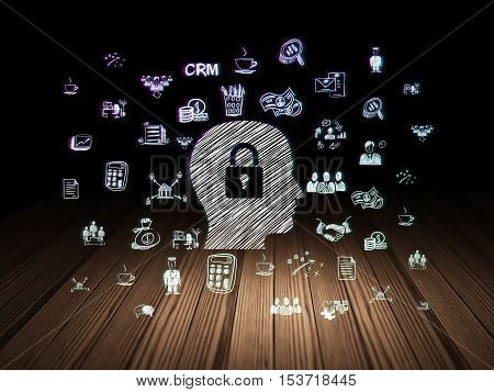 Business concept: Glowing Head With Padlock icon in grunge dark room with Wooden Floor, black background with  Hand Drawn Business Icons