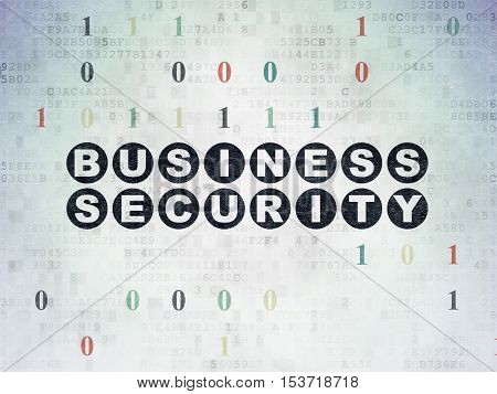 Protection concept: Painted black text Business Security on Digital Data Paper background with Binary Code