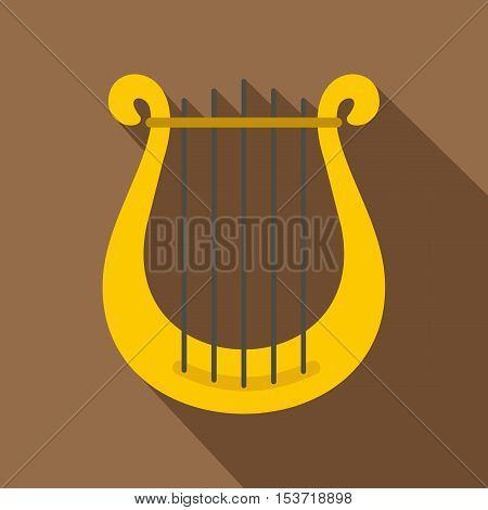 Harp icon. Flat illustration of harp vector icon for web