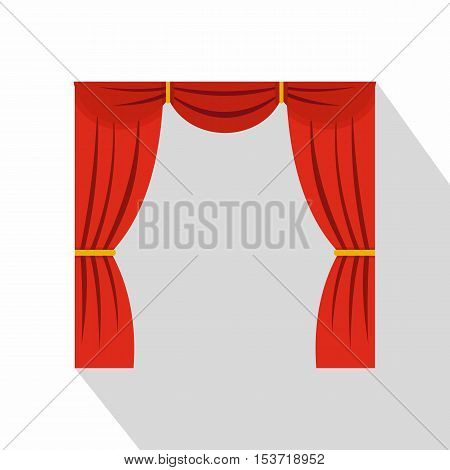 Curtain on stage icon. Flat illustration of curtain on stage vector icon for web