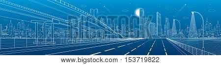 Automotive flyover, architectural and infrastructure panorama, transport overpass, highway. Business center, night city, towers and skyscrapers, white lines urban scene, vector design art