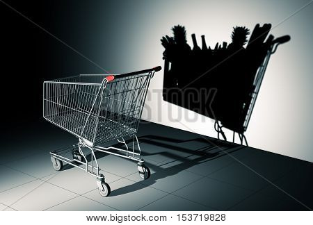 Empty Shopping Cart Cast Shadow On The Wall As Shopping Cart Full Of Food. 3D Illustration.