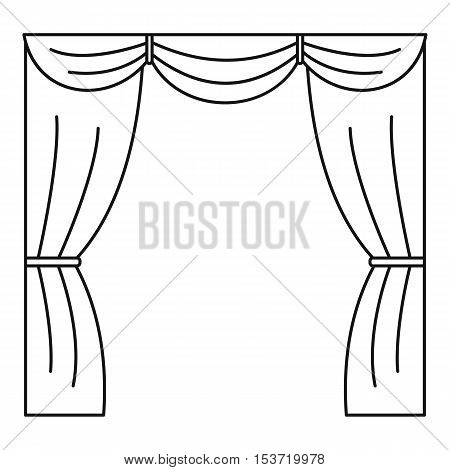 Curtain on stage icon. Outline illustration of curtain on stage vector icon for web