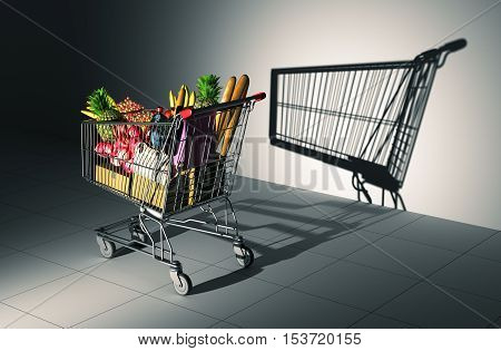 Full Shopping Cart Cast Shadow On The Wall As Empty Shopping Cart. 3D Illustration.