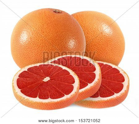 cut and whole grapefruit fruits isolated on white background with clipping path
