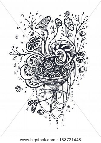 Doodle elements abstract world in handmade style black on white for coloring page or relax coloring book or for wallpaper or for package or for decoration clothes or T-shirt or for tattoo