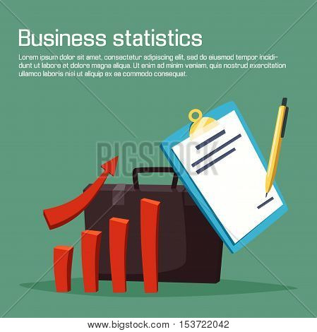Business statistic or analytics with charts. Growth or increasing of bar graph or diagram with arrow, pen writing on sheet of paper. May be used for economy and business plan, deposit investor theme