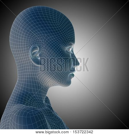 Concept or conceptual 3D illustration wireframe young human female or woman face or head on gray background