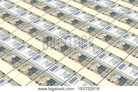 Icelandic krona bills stacks background. 3D illustration.