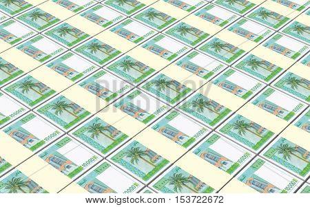 Djiboutian franc bills stacks background. 3D illustration.
