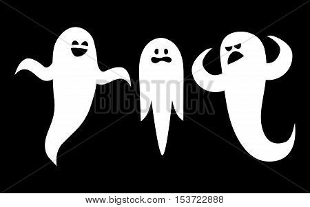 Scary white ghosts on black background - Halloween celebration
