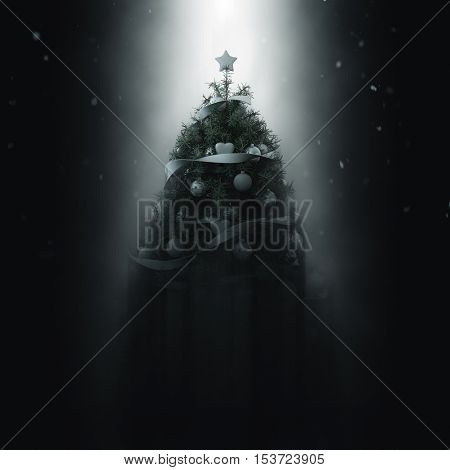 Beam of light illuminating a natural pine potted Christmas tree decorated with white baubles and ribbons shining down through the darkness. 3d Rendering.
