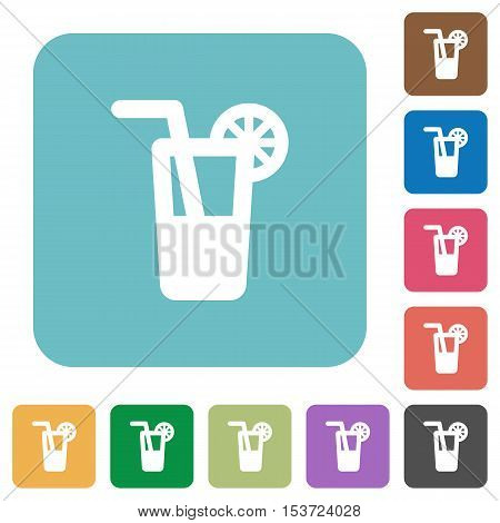 Longdrink white flat icons on color rounded square backgrounds