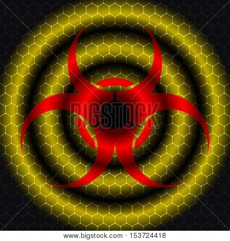 Vector abstract dark gray background with concentric yellow circles and red biohazard symbol silhouette.
