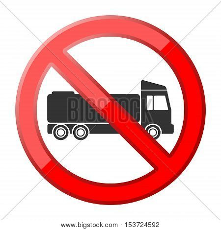 Red No truck traffic sign on white background
