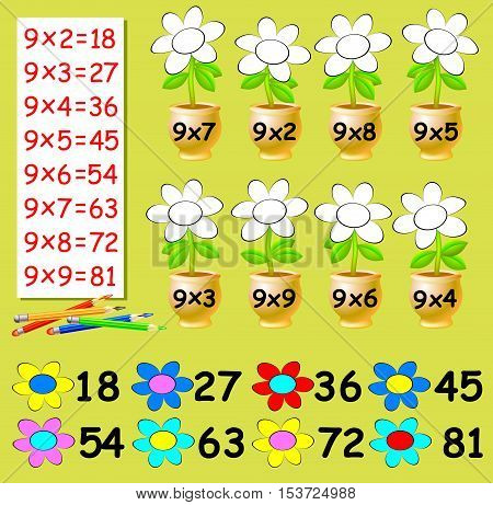 Exercise for children with multiplication by nine. Need to paint the flowers in relevant color. Vector image.