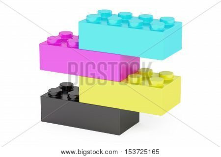Plastic cmyk toy construction blocks 3D rendering isolated on white background