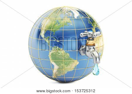Save water save earth concept. 3D rendering isolated on white background