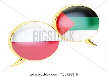 Speech bubbles Arabian-Polish translation concept. 3D rendering