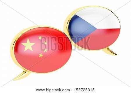 Speech bubbles Czech-Chinese translation concept. 3D rendering