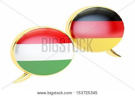 Speech bubbles German-Hungarian conversation concept. 3D rendering