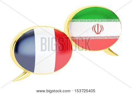 Speech bubbles Iranian-French translation concept. 3D rendering