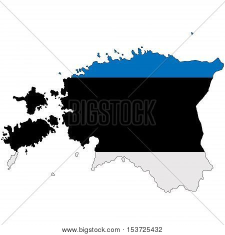 Map of Estonia painted in national flag colors