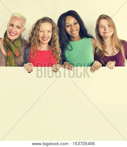 Girls Friendship Togetherness Copy Space Banner Concept