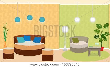 Dual zone living room interior with furniture and houseplants. Flat vector illustration