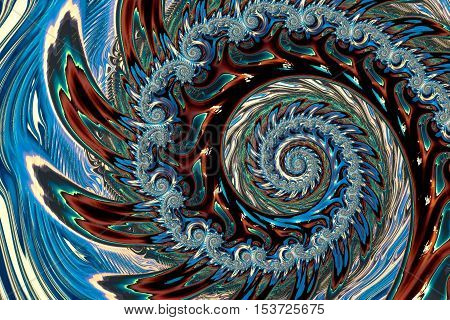 Abstract fractal spiral - computer-generated image. Fractal art: curls and repetitive spiral. Ornamental background for covers, posters, web design.